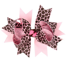 12*10cm Teens Little Girls Leopard Zebra Hair Bows Clips Loop Ribbon Bows Hair Ornaments Set of 12 Colors(China)