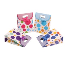 Dots Bow Multicolor Paper Carrier Gift Present Package Bags Party Favors 24pcs(China)