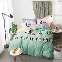 Blue cotton fabric penguin children  bedding sets home decoration bedsheet queen size pillowcases bed line hometexile