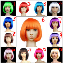 Party Straight Hair Wig with Bangs Short Black Red BoBo Wigs Halloween Christmas Party Supplies(China)