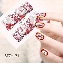 1pcs Nail Art Sticker Hot Designs Winter Flower Blossom Hot Pink Full Patch Foils Decorations Styling Tools Water Decal TRSTZ171