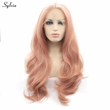 Sylvia Rose Gold Color Hair Nature Wave Synthetic Lace Front Wigs Soft Pastel Pink Gold Glueless Heat Resistant Fiber For Women(China)