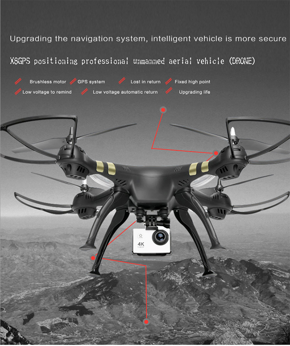 Adult Toys sport RC Quadcopter X8AMG GPS Real-Time RC Helicopter Brushless motor Drone With Camera HD 4K 1600W FPV wifi hand 2