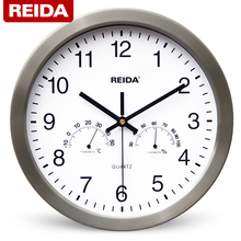 REIDA Brand 12 Inch Large Wall Clock Modern Design Creative Clock Super Quiet Home Decor Clock with Thermometer Hygrometer