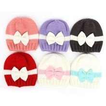 2017 Toddler Kids warim bow hat Fashion Girl&Boy Baby Infant Winter Warm Crochet Knit Hat Beanie Cap(China)