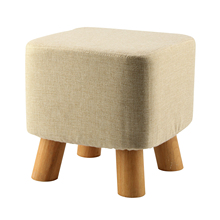 Best Modern Luxury Upholstered Footstool Pouffe Stool + Wooden Leg Pattern:Square Fabric:Grey(4 Legs)