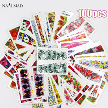 100pcs Nail Art Sticker Sets Mixed Flower Full Water Decals for Polish Gem Nail Art Water Decals Slide Sticker(China)