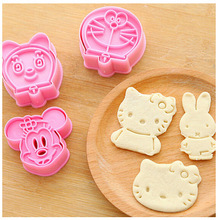 BYCQ 2pcs/set Cartoon 3D Cookie Cutter Set Mickey Minnie Mouse Cake Fondant Mould DIY Cake Cookie Biscuit Cutter Tool Set