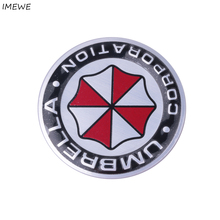 Hot 10pcs/lot 3D Car Stickers Aluminum Umbrella Corporation Resident Evil Decals Emblem For BMW AUDI VW Volkswagen Ford(China)