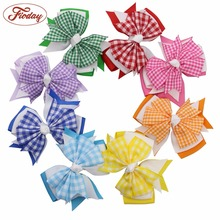 "8pcs 4"" Gingham Ribbon Three Layered Girl Hair Bow Clips Hairbow Assorted 8 Color MIX085C"