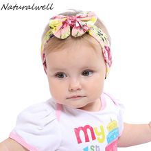 Naturalwell Baby Girl Cotton Headwrap Big Bow Flower Turban Headband For Child Top Knot Headbands 1pc HB506