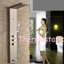 Uythner Modern US Free Shipping Thermostatic Shower Panel Brushed Nickel Shower Column Tub Jets Hand Shower Tap