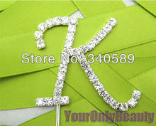 16 Monogram Choose--1 Pcs Clear Rhinestone Diamante Letter Monogram Cake Toppers For Baby Shower Wedding Party Decoration