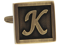 Novelty Rare Letter K Antique Brass Color Square Cuff Links Men's Wedding Groom Shirt Sleeve Suit Cufflinks Birthday Gift(China)