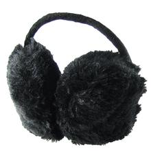 Woman Black Plush Winter Ear Warmer Cover Earmuffs
