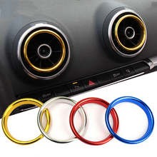 4 Pcs/Lot Car Styling Air Conditioning Outlet Decorative Circle Trim For AUDI A3 3th Sedan Cabriolet Sportback S3 2013-2016