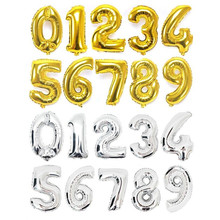Party Supplies 16inch Gold Silver Number Foil Balloons Happy Birthday Wedding Decoration Letter Balloon Digit Air Ballons 5Z(China)