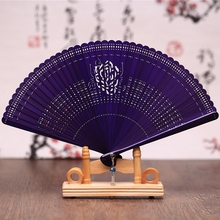 Free Shipping 1pcs Retro High-grade Bamboo Carving Craft Gift Fans 17cm Pocket Fan Japanese Folding Fan Hand Held Dance Fan(China)