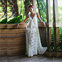 Summer Style Sexy Deep V-neck Beach White Lace Long Maxi Dress For Women Lace Beach Bikini Outside Smock Dress CH-47