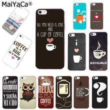 MaiYaCa Chalkboard Coffee Love with Heart I Love Coffee Transparent TPU Phone case Cover For iPhone 4s 5s 6s 6plus 7 7plus case(China)