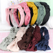3pcs/lot Solid Color Single Sided Braid Hair Bands For Girls Ladies Braided Turban Elastic Headbands Hair Accessories For Women(China)
