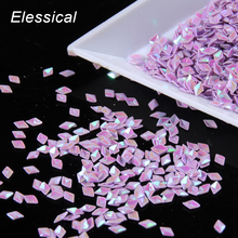 ELESSICAL 10g/bag Purple 3D Holographic Pyramid Design Nail Glitter Nail Powder Dust Spangles Decorations For Manicure WY359(China)