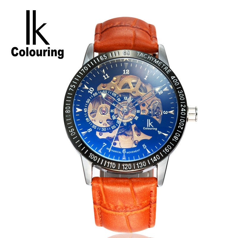 IK New Original Mens Skeleton Dial Auto Mechanical Orange PU Leather Strap Watches Box Gift Free Ship<br>