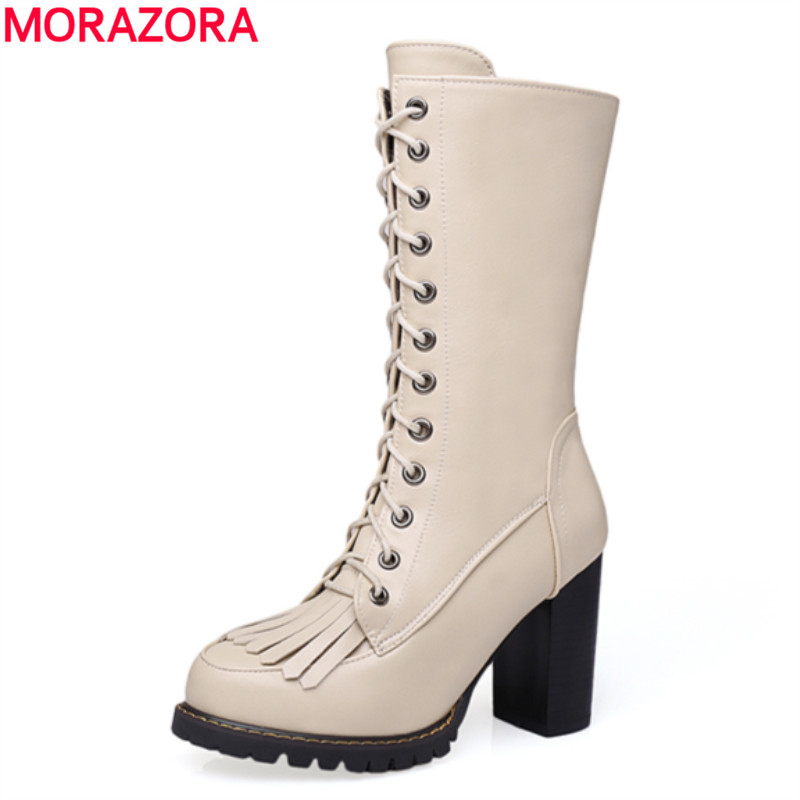 MORAZORA Women boots popular fashion lace up ladies shoes thick high heels round toe platform PU soft leather mid calf boots<br>