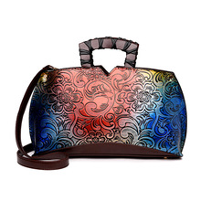 European Brand Printing Flower Top-Handle Bag 2017 Luxury Brand Designer Women Leather Handbag Sac A Main Shop Online Brief Case(China)