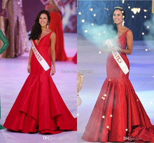 2014 Miss World Pageant Dress United States Red Deep V Neck Mermaid Satin Court Train Prom Dresses 2015 Celebrity Gowns MD18