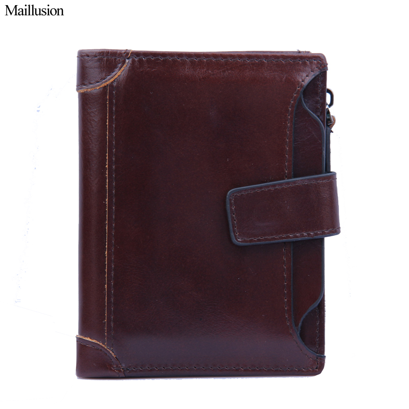 Maillusion Genuine Leather Men Wallet Brand Designer Zipper Hasp Vintage Short Coin Purse Money Female Wallet Card Holder Pocket<br>
