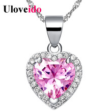 15% Off 2017 Necklaces & Pendants Pink Heart Cubic Zirconia Suspension Silver Color Necklace Bijouterie Jewelry Uloveido N1110