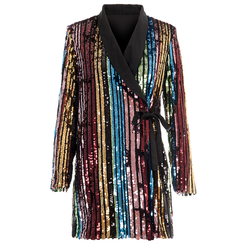 Bling Bling Women Suit Rainbow Sequin Jacket Fashion Runway Show Rainbow Color Hologram Jacket Glitter Stripeped OL Office Club