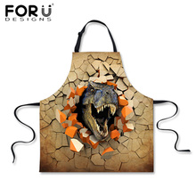 FORUDESIGNS Funny Men Kitchen Apron 3D Dinosaur Print Cooking Aprons Men Chef BBQ / Work / Hairdresser Apron