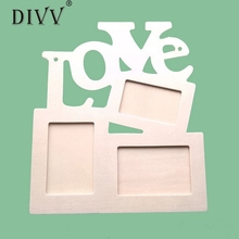 DIVV Top Grand Hollow Love Wooden Photo Frame DIY Picture Frame Art Decor White Base 2016 New(China)