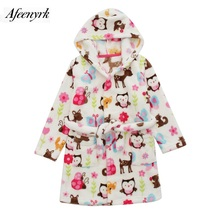Autumn Winter Baby Flannel Robe Bathrobes Kids Cartoon Sleepwear Hooded Baby Robes Boys Girls Pajamas Thickening Home Clothing(China)