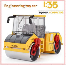 New Low Price KDW 1:35 Tandem Compactor Engineering Car Vehicle Alloy Model Pull Back Pull Back Machine Model Kids boy Toys Gift(China)
