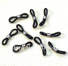 "50Pcs/Lot 25x4mm 1"" Black Rubber Silver tone Coil Adjustable Cord Ends for Sunglass Eyeglass Chain Holder"