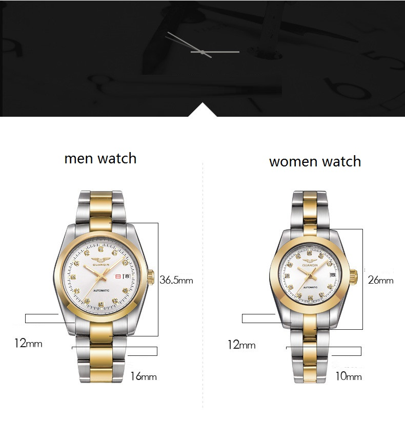 GUANQIN Gold Couple Watch Men Women Mechanical Watch Luminous Calendar Week Waterproof Rhinestones Automatic Lovers Watches (7)