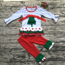 christmas clothes Fall suit girls xmas tree Outfit girl boutique clothing ruffle pants long sleeve baby girl christmas outfits(China)
