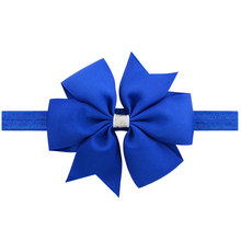 20pcs Kids Little Girls 11CM Ribbon hair bows elastic flower headband royal blue dusty pink yellow black brown white navy(China)