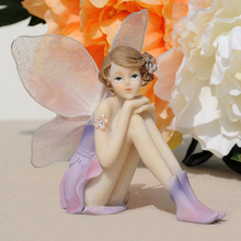 Q-glory Beautiful Girl Resin Angel Ornaments Home Decor Miniature Flower Fairy Figurines Wedding decoration Creative Gifts(China)