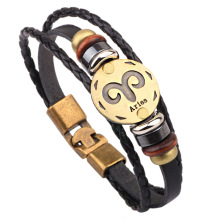 Vintage Leather 12 Constellations Bracelets Men Jewelry Brand Braided Black Zodiac Casual Punk Rock Bracelets & Bangles