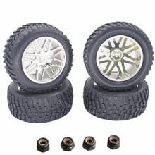 "4pcs Rubber 2.2"" RC Short Course Truck Tires & Wheel Rims 12mm Hub Hex For 1/10 HSP Rally DESTRIER Nitro Power 94155(China)"