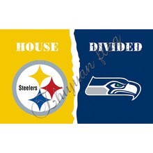 PITTSBURGH STEELERS vs SEATTLE SEAHAWKS HOUSE DIVIDED Helment Baseball Large Indoor Outdoor 3 X 5' Custom Flag