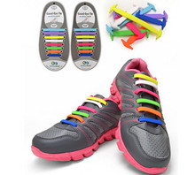 Fashion No Tie Rubber Elastic Shoelace Sneaker Adult Shoe Laces Running Shoelaces Athletic Shoe laces 16 PCS(China)