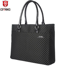 DTBG White Polka Dot Handbag Women Tote Nylon Laptop Bag Lovely Cute Lady's Shoulder Bags Waterproof 15.6 Inch Briefcase(China)