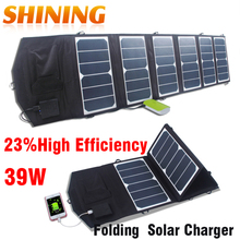 39W Sunpower Dual USB Folding Solar Panel Charger Big Power And Compact With DC/USB Output 23% High Efficiency