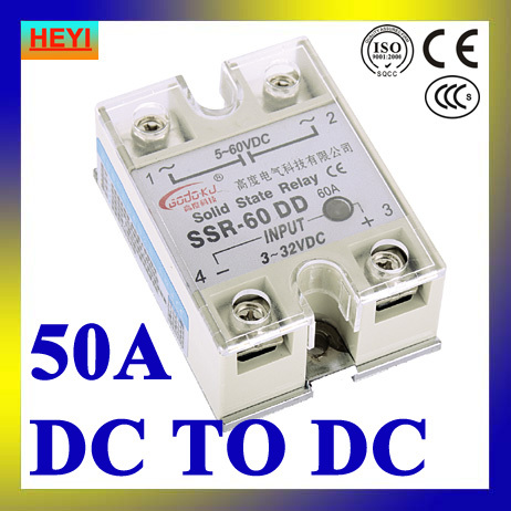 SSR relay 50DD DC to DC single phase solid state relay,Input 3-32V DC load voltage 5-60V DC<br><br>Aliexpress