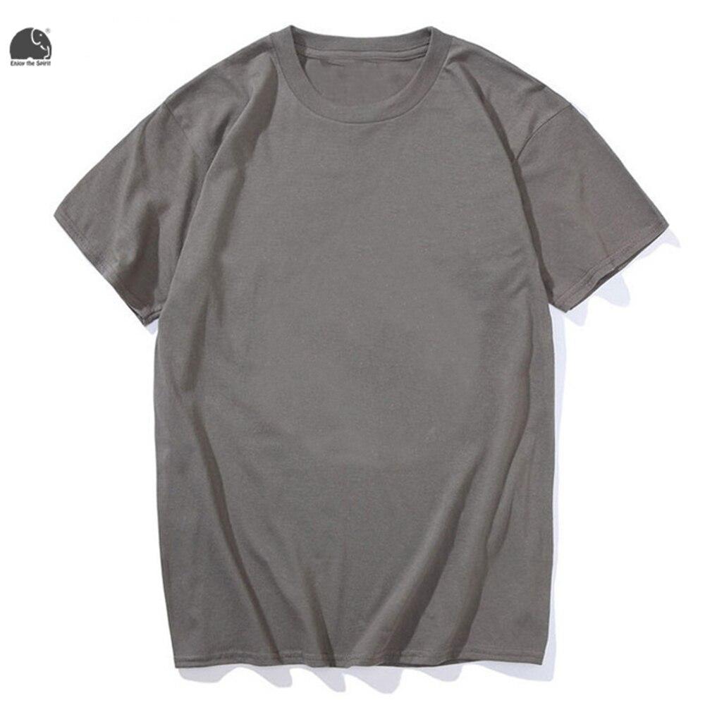 Black t shirt plain - Enjoythespirit New Men S Plain T Shirt Crew Neck Summer T Shirt 100 Cotton Dark